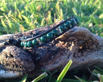 Malachite single leather wrap