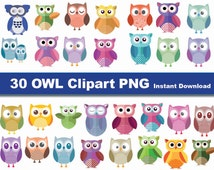 Instand DL - owl clip art x30 png- printable Digital Clipart Graphic Instant Download