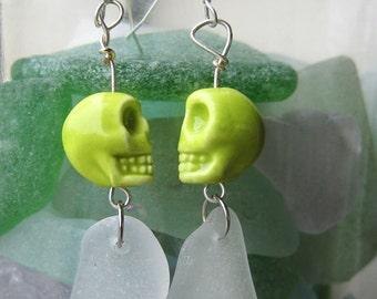 Frosty White Sea Glass/Green Skull Bead Earrings/Sterling/Surf Tumbled Maine