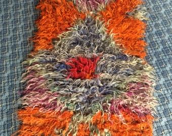 Angora Wool Colorful Shaggy Rug,Long Pile Tulu Carpet,Moroccan Style Flokati Rug,Shag Tulu Hand Knotted Rug 4'82'' x 2'39'' / 147cmX 73 cm