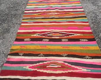 Turkısh Anatolian Handmade Kilim ( 365 X 140 Cm ) Handwoven Decorative Wool Kilim
