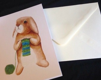 Knitting rabbit greetings card