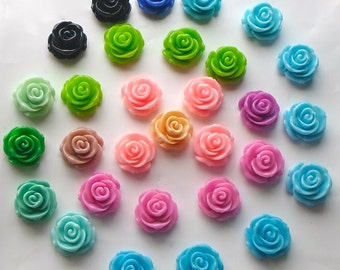 6 x Beautiful Assorted Mix Colour Acrylic/Resin Rose Flat Flower Cabochons 23mm Flat Back Jewellery / Craft Making / Sewing / Knitting A7