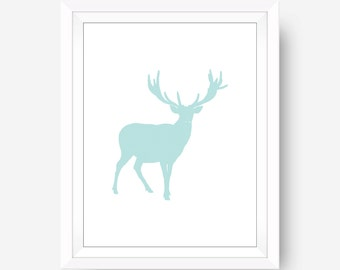 Blue Deer Nursery Wall Art, Deer Art, Blue Modern Home Decor, Deer Wall Art, Minimalist Wall Art, Blue and White,