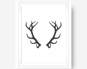 Antlers Antler Print Deer Wall Art Antler Decor Black and White Art Printable Wall Art Deer Antler Art Printable Antlers 8x10 Art