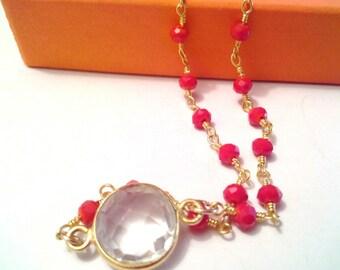 Crystal Quartz red rosary style bracelet