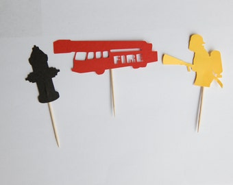 Firefighter cupcake toppers, fireman party, fire service party, firefighter party, firefighter decorations, cupcake toppers, set of 12