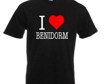 I Love Benidorm - Mens/Adults Tshirt - Novelty/Funny/Gift/Present/Party/Secret Santa/Fancy Dress