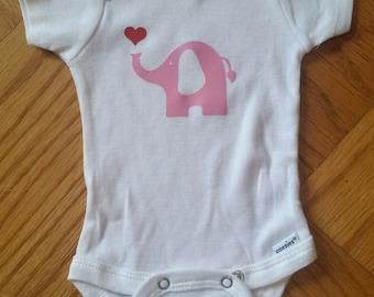 Elephant Baby Girl Onesie