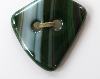 Greens and creams fused glass button