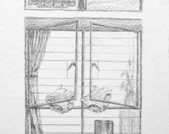 Original drawing of a window in Hong Kong