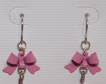 Bow Earrings - Red Pink Magenta