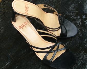 Superb Vintage Charles Jourdan Black Slide Sandals