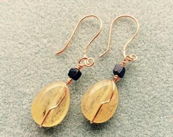 Pineapple Quartz Copper Earrings