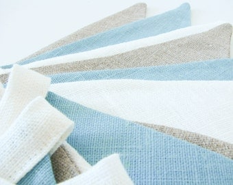 Fabric Flag Banner / Pennant / Bunting / Ivory White / Teal / Natural Linen