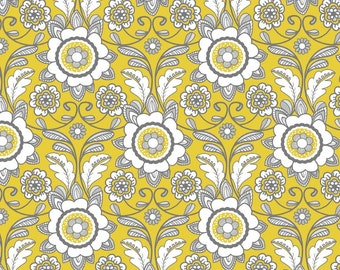 Parisian collection by Chelsea Andersen for Riley Blake, Cotton, Parisian scroll yellow, C4631