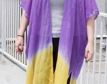 Purple & Yellow Lightweight Kimono