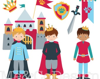 Princes Clipart, Fun Cute Clipart, boy, Castle Instant Download, Personal and Commercial Use Clipart, Digital Clip Art