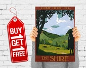 Green valley travel print retro print vintage nature poster, travel print retro advertising decor office art - Come Home To The Shire (1513)