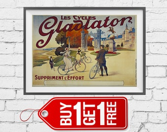 Les cycles gladiator poster vintage advertising, Suppriment Leffort print, people ride on Bicycles retro advertising art decor office (2042)
