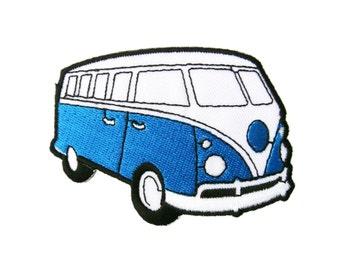 Blue VW Volkswagen Camper Van Bus Car Embroidered Applique Iron on Patch