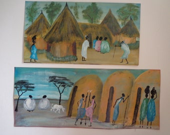 Two Beautiful Vintage Oil/Acrylic Paintings from Africa, African Tribal/Village Scenes, by Local African Artist, Acrylic/Oil on Canvas