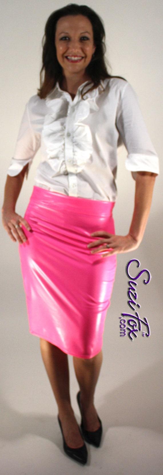 pencil skirt in gloss stretch pvc vinyl by suzi fox