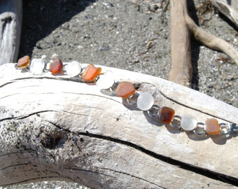 Amber and White Sea Glass Bracelet