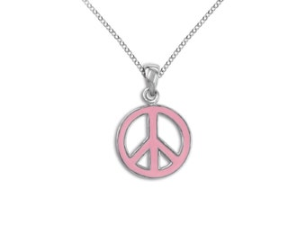 Sterling Silver Pink Peace Sign Necklace Pendant Brass Charm