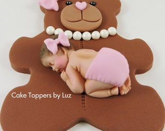 Teddy Bear Cake Topper Girl Baby Shower Fondant Cake Topper 1st Birthday