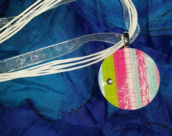 Colorful Striped Washer Pendant