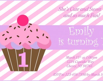 1st Birthday Cupcake Invitation, Girl First Birthday, Pink and Purple Invitation, cupcake birthday, cupcake party