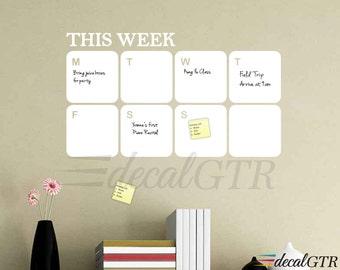 Dry Erase Calendar Decal - white board calendar - weekly planner wall sticker - adhesive-backed removable vinyl calendar - D011