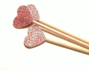 24 Mini Blush Pink Heart Toothpicks