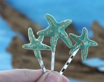 Turquoise Starfish Hair Pins/ Beach Themed/ Destination Wedding/ Bridal Hair Pins