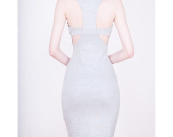 Gray Dress with Racer Back Inspired Design