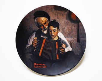 Norman Rockwell The Music Maker, Collectible Plates, Norman Rockwell, Norman Rockwell Plate, Edwin M Knowles Collectible Plates, Music Maker
