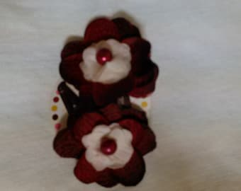 Burgundy flower hair clips. Perfect Holiday gift