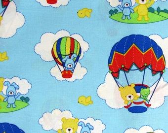 2 Yards Bears and Hot Air Balloons Blue Fabric