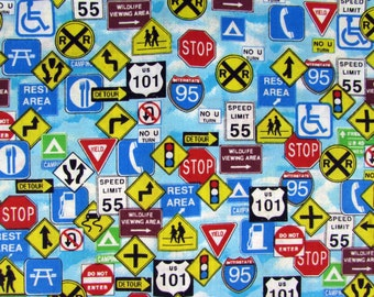 2 Yards Road Signs Allover Fabric