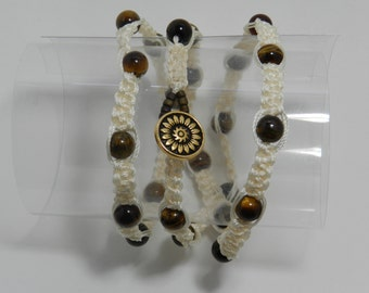 """White and Brown Wrap Bracelet w/ Button and Loop Closure - Available in sizes 6"""" - 9 1/2"""""""