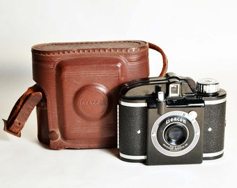 Vintage 40s BEACON B 127 Film Camera + Leather Case/Collectible Beacon Made in Brooklyn/Whitehouse Camera Retractable Lens/Not Film Tested
