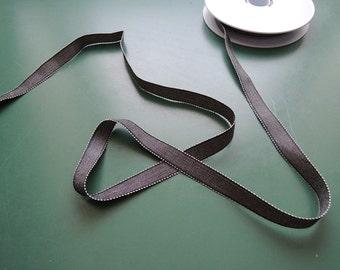 Grosgrain ribbon | Chambray Gros Grain | Viscose/Linen | 15mm | 5/8'' | black/white