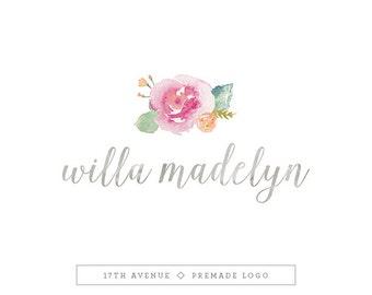 """Premade Logo Design - Watercolor Flowers Logo - Photography Logo - Boutique Logo - Small Business Logo - """"Willa"""" Deluxe"""
