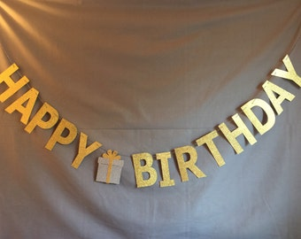 Happy Birthday Banner, Glitter Banner, Glitter Garland, Birthday Decor