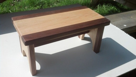 Handmade Solid Walnut Maple Childs Bathroom Step Stool
