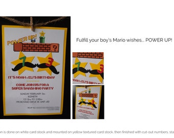 Kids Birthday Invitations, Super Mario, Mario Bros. Instant Download or Printed Just For You