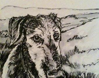 Custom hand drawn pen and ink pet portrait.