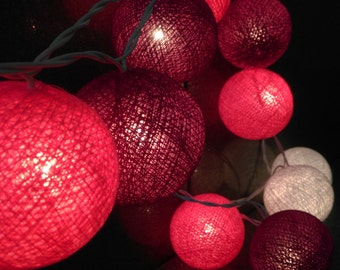 Cotton Ball String lights Party Decor Wedding,Bedroom,Patio Home Decoration.