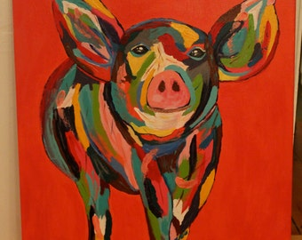 Abstract Pig Giclee Print on Fine Art Paper